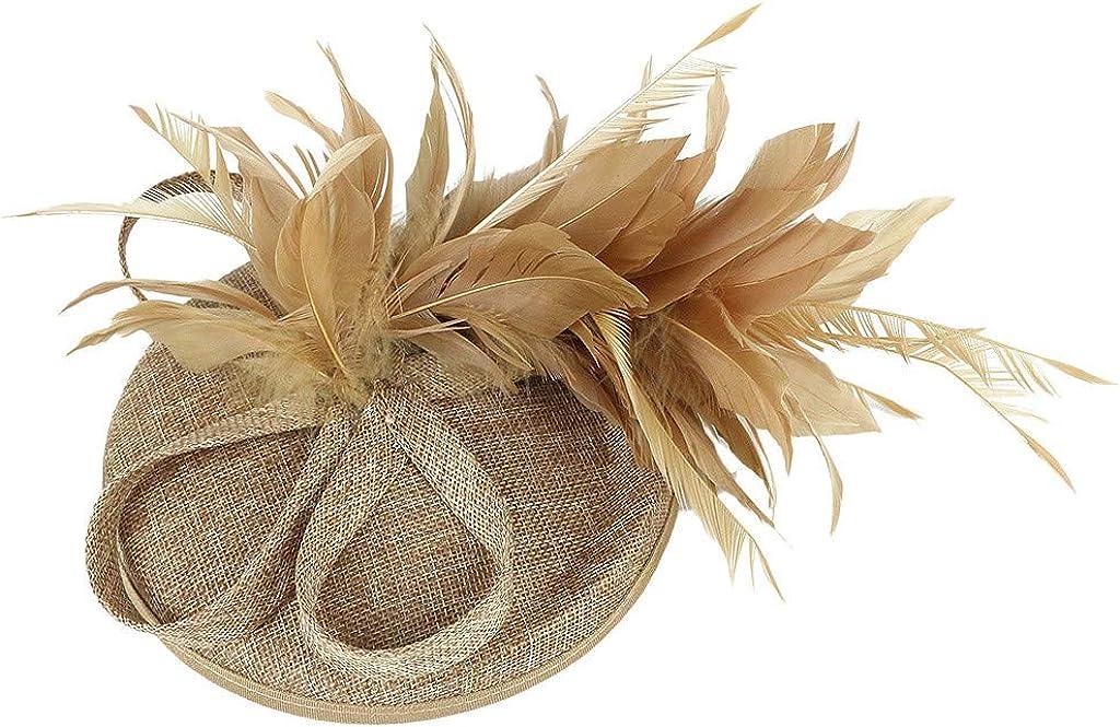 VISOEP Womens Feather Fascinators Flower Derby Hat Cute Beads for Wedding Headwear High-end Hemp Yarn Hats