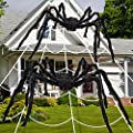 Cocopa 2PCS Halloween Spiders Decorations, 6.5 ft Scary Giant Halloween Spiders with Web Set for Indoor Outdoor, Creepy Fake Hairy Spider Props for Halloween Decor Yard, 79 Inch