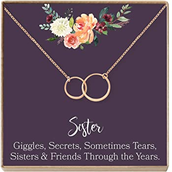 2 Interlocking Circles Sister Birthday Gift Gift for Sister Dear Ava Sisters Necklace: Sister Gift Giggles