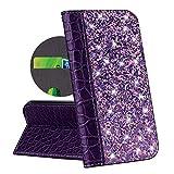 QPOLLY Coque Portefeuille Compatible avec Sony Xperia XZ1 Housse à Rabat, Bling Glitter Paillettes...