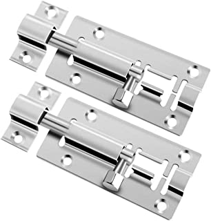 2 pcs 3 Inch Barrel Bolt Security Lock, Stainless Steel Slide Latch Lock with Screwdriver Slide Door Latch for Chests, Cab...