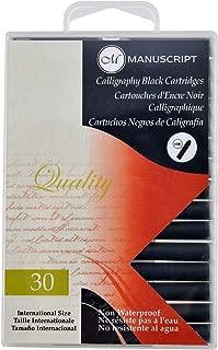 Manuscript Pen MC0401CB Fountain Pen Ink Calligraphy Cartridges, Black, 30-Pack