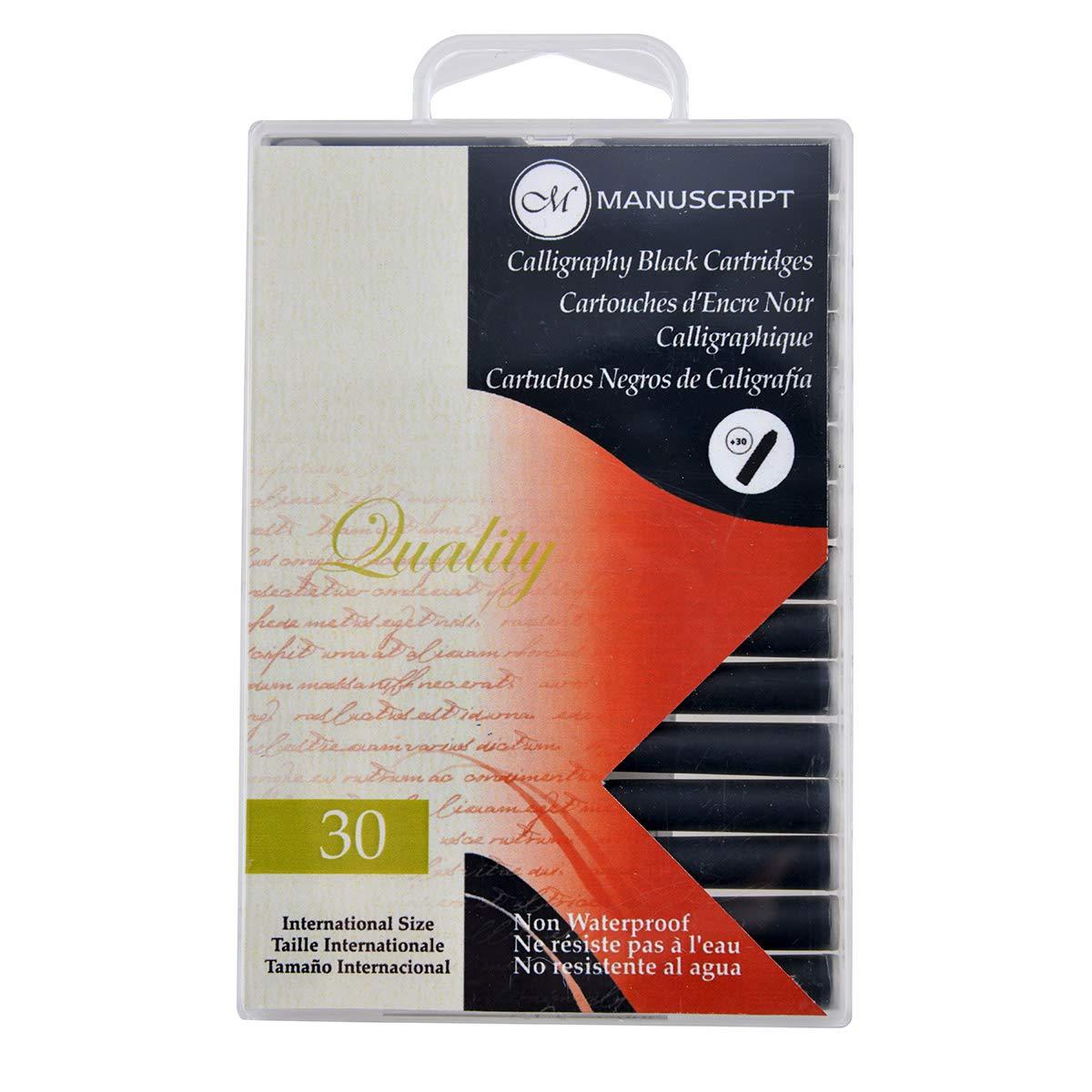 Manuscript Fountain Pen Ink Cartridges 12//Pkg-Black