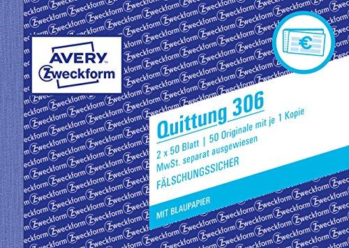AVERY Zweckform 306 Quittungsblock (A6 quer, 2x50 Blatt, mit Durchschlag, fälschungssicher, separat ausgewiesene MwSt., für Deutschland und Österreich) weiß