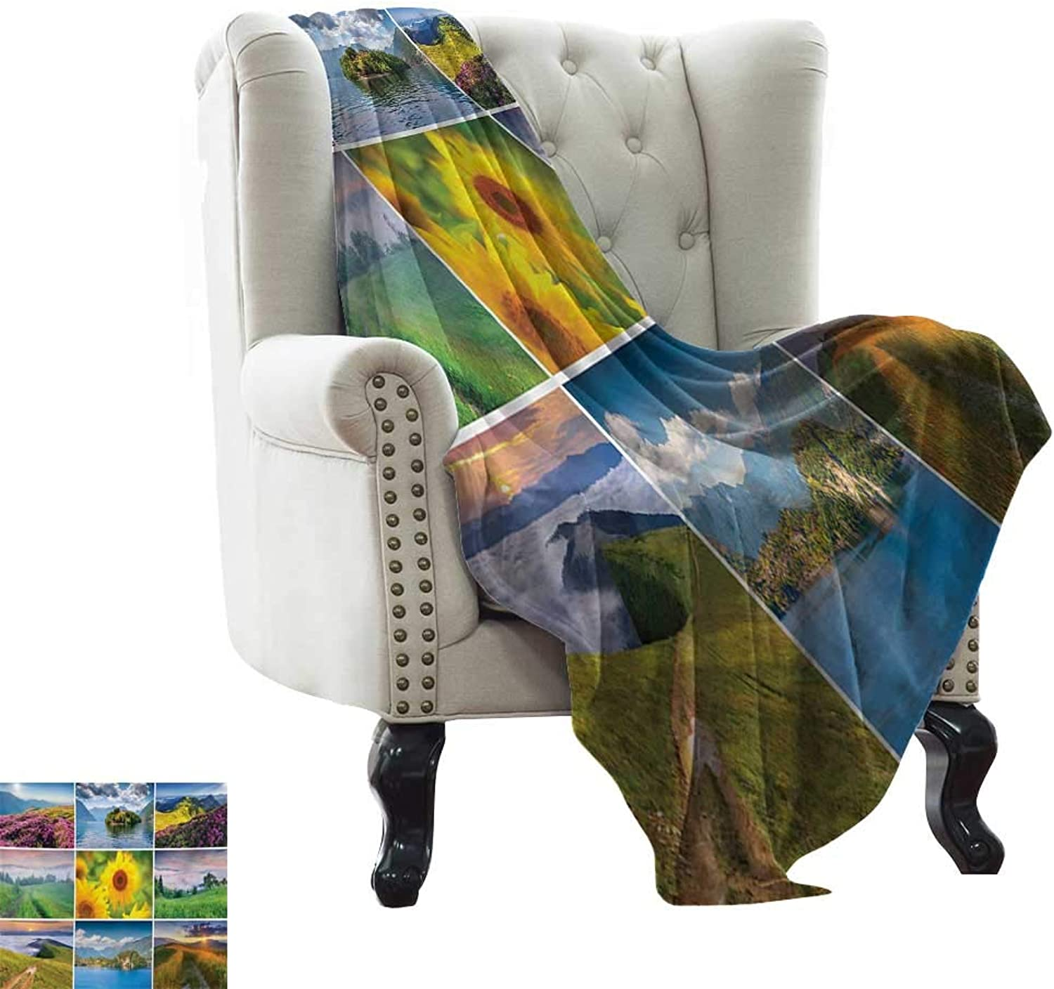 LsWOW Weighted Blanket for Kids Summer,Collage with colorful Summer Landscapes Idyllic Mother Earth Meadows Clouds and Sun,Multicolor Reversible Soft Fabric for Couch Sofa Easy Care 60 x62