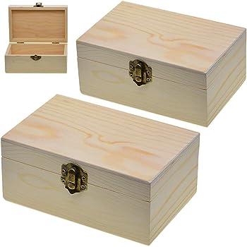 Caja de madera sin terminar de 2 piezas, caja de almacenamiento de madera con cierre de bloqueo, organizador de caja de madera para caja de regalo artesanal, decoración del hogar: Amazon.es: Hogar