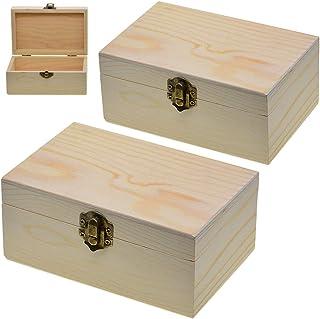 Caja de madera sin terminar de 2 piezas, caja de almacenamiento de madera con cierre de bloqueo, organizador de caja de ma...