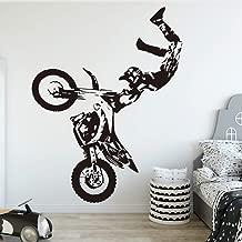 SLQUIET Creativo Motocicleta Vinilo Pegatina de pared Decoración para niños Habitación Decoración Habitación del niño Calcomanías de pared Pegatinas Mural negro 58x69cm