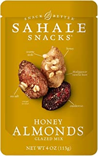 Sahale Snacks Honey Almonds Glazed Mix, 4 oz., Pack of 1 – Nut Snacks in a Resealable Pouch, No Artificial Flavors, Preser...