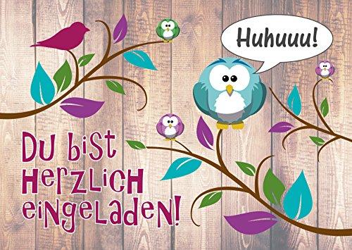 JamOnMedia 12 Einladungskarten mit niedlichem, lustigem Uhu- und Eulen-Motiv, Kindergeburtstag Kartenset für die Geburtstags-Party