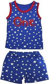 Petitebella Girls' Cartoon One Patriotic Stars Red Cotton Shirt Short Set