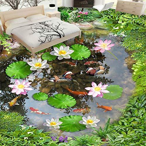 Papel tapiz fotográfico 3D Lotus Pond Azulejos de suelo Murales Sala de estar Baño PVC Autoadhesivo Etiqueta de papel de pared impermeable Decoración para el hogar-150 * 105cm