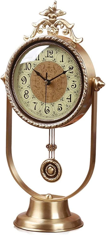 デスククロックファミリークロック家庭用ミュート純銅振り子リビングルームの寝室用立体時計装飾リビングルームの寝室用オフィス