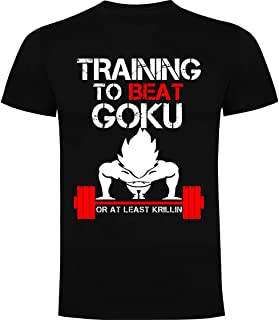 Camiseta Training to Beat Goku - Tallas S-L-M-XL - Serigrafia de calidad - 85% Algodón 15% Viscosa - Camiseta Premium