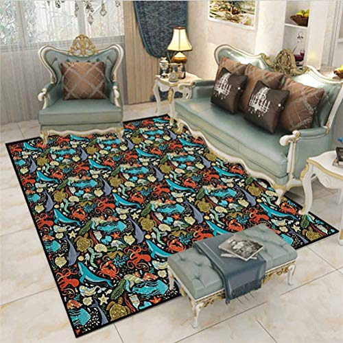 Marine Small Rugs playroom Rug Spiritual Ornamental Style Wild Underwater Animals Octopus Seahorse Squid Jellyfish for Bedroom, Living Room, and Kitchen Multicolor 6.5 x 8 Ft