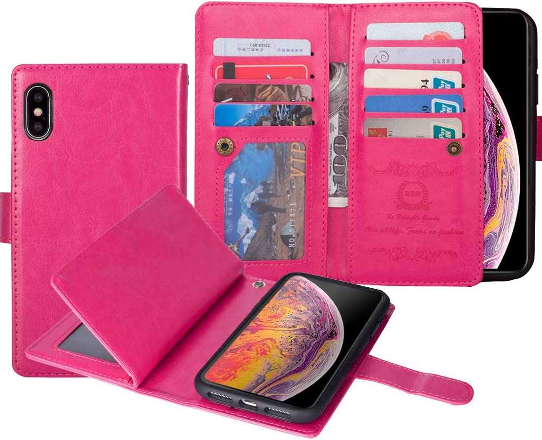 Urvoix for iPhone Xs Max, Wallet Leather Flip Card Holder Case, 2 in 1 Detachable Magnetic Back Cover iPhone Xs Max(6.5-inches Display) Hot Pink