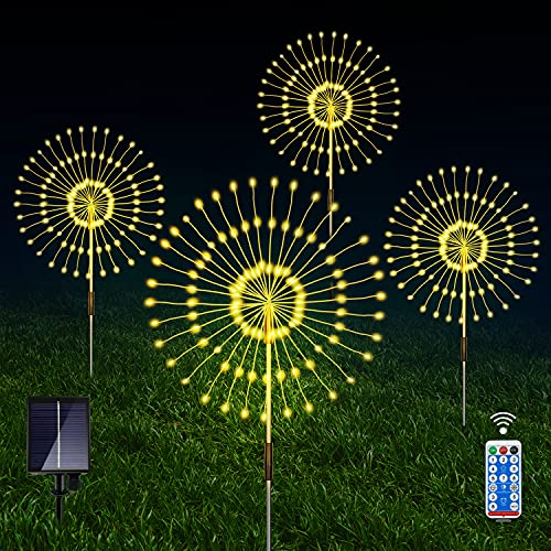 Solar Fireworks Lights, 4 Pack 120led 40 Copper Wire Solar Garden Lights Outdoor Decorative With 8 Mode Remote Control, Waterproof Solar String Lights Garden Stakes For Christmas Patio Lawn Backyard