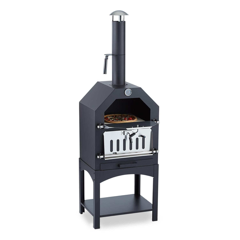 Klarstein Pizzaiolo - Horno para pizza (parrilla de carbón, termómetro, piedra para pizza, ahumado/barbacoa/cocción, puerta del horno con asa, contraventana de ventilación), color negro: Amazon.es: Jardín