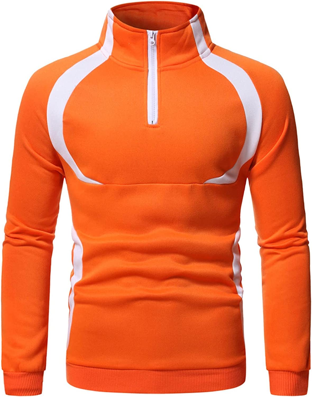 PAOGE Men's Zipper Casual Pullover Long Sleeve Men's Turtleneck Color Block Sweatshirt