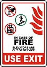 Dreamawsl Watch Out for - tin Sign - in Case of Fire Elevators Out of Service Sign Safety Sign Tin Metal Warning Sign Notice 12 x 8 inch