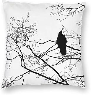 antcreptson Raven On A Tree Branch Throw Pillow Decorative Pillow Case Home Decor Square 18x18 Inches Pillowcase