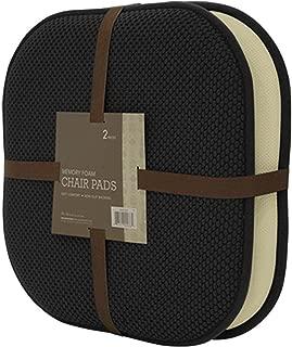 GoodGram 2 Pack Non Slip Ultra Soft Chenille Premium Comfort Memory Foam Chair Pads/Cushions - Assorted Colors (Black)