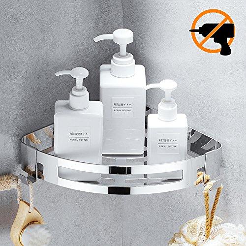 Hängeregal für die Dusche oder Küche, mit Haken, wandmontiert,–kein Bohren notwendig, selbstklebend –304-Edelstahl mit poliertem Finish, edelstahl, Triangle