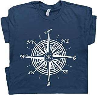 Nautical Compass T Shirt Sailing Sailboat Tee Pirate Jolly Roger Flag Symbols Anchor Wheel Vintage Graphic
