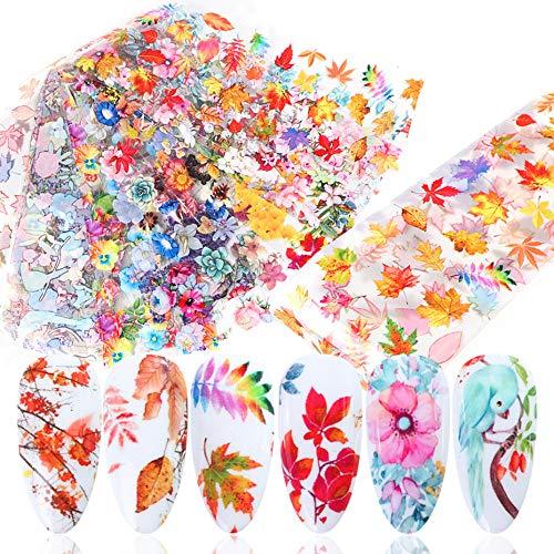 Fall Nail Art Transfer Foils Autumn Maple Leaf Nail Art Foil Decals, 10pcs Holographic Laser Nail Art Supplies Flower Lavender Foil Starry Sky Nail Stickers Set for Women Manicure Tips Decorations