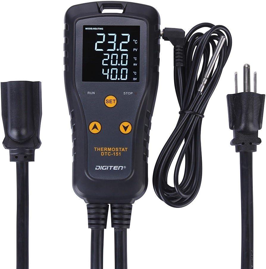DIGITEN DTC151 Temperature Controller Digital Thermostat Outlet Plug in Temperature Controller 110V 15A Reptile Thermostat Greenhouse Temp Controller Heating Cooling for Homebrewing Aquarium Heater : Industrial & Scientific