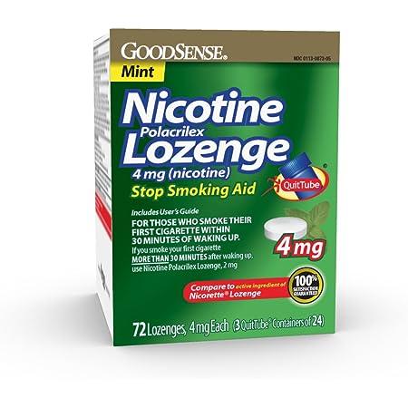 GoodSense Nicotine Polacrilex Lozenge 4 mg (nicotine), Mint Flavor, Stop Smoking Aid; quit smoking with nicotine lozenge, 72 Count