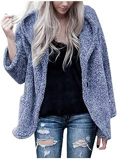 LIM&SHOP Women's Coat Casual Lapel Fleece Fuzzy Faux Shearling Zipper Warm Winter Oversized Outwear Jackets Cozy Top