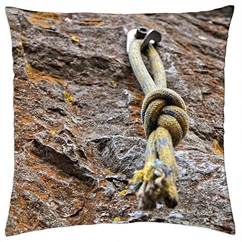 LESGAULEST Throw Pillow Cover (18x18 inch) - Knot Climbing Climb Yellow Rock Tight Trust