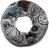styleBREAKER fular de tubo de punto fino con motivo étnico de puntos en estilo africano, chal, de señora 01017042, color:Marrón-azul-blanco