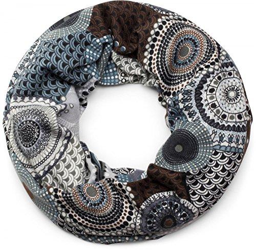 styleBREAKER Feinstrick Loop Schlauchschal mit Ethno Punkte African Style Muster, Schal, Damen 01017042, Farbe:Braun-Blau-Weiß