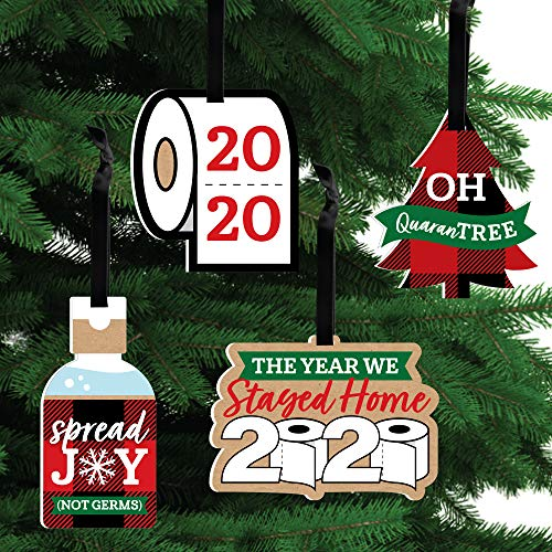 Big Dot of Happiness 2020 Quarantine Christmas - Holiday Decorations - Christmas Tree Ornaments - Set of 12
