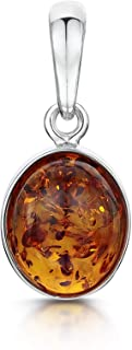 Amberta 925 Sterling Silver with Genuine Baltic Amber - Classic Oval Pendant for Women - Various Stone Colours