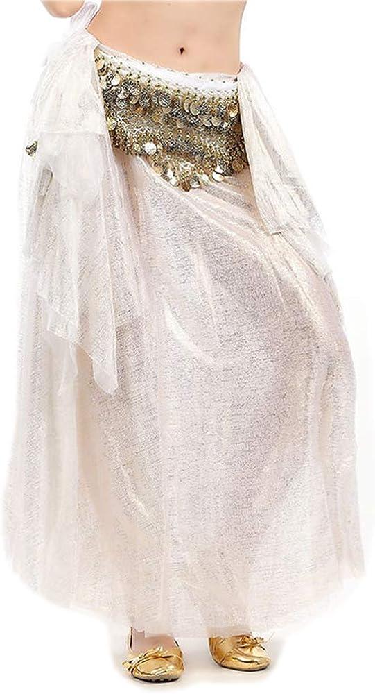 Lauthen.S Women Belly Dance Tribal Skirt Side Slit Halloween Shiny Skirt