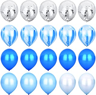 Blue Silver Confetti Balloons Agate Marble Stripe Assorted Colors Party Balloon 12 Inch