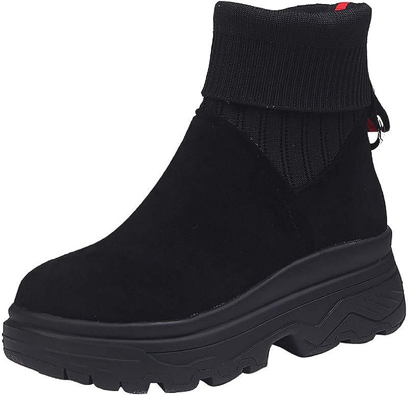 Women Slip On Elatic Boots Tsmile Original Lightweight Nubuck Round Toe Flat Platform Motion Outdoor Ankle Booties