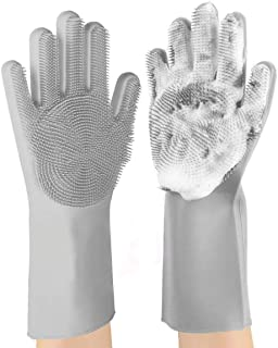 Household Cleaning Gloves,Reusable Silicone Cleaning Magic Brush Heat-Resistant Washing Brush Gloves for Housework,dishwashing, Kitchen Cleaning, Bathroom,Pets, car Washing, Window Cleaning (Gray)