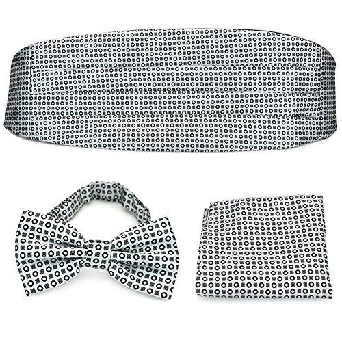 PenSee Pensee Set aus vorgebundener Fliege, Einstecktuch und Kummerbund, formal, geometrisches Muster, silbergrau / Schwarz