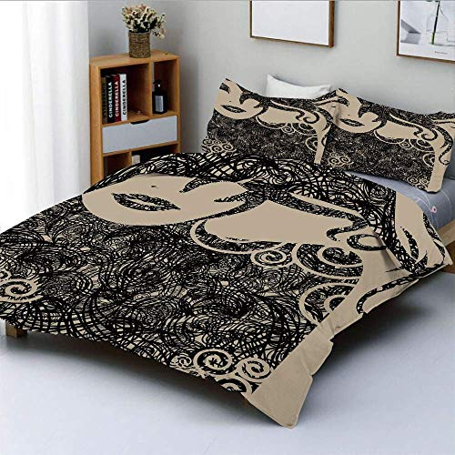 Jojun Duvet Cover Set,Woman with Cool Posing Wavy Sexy Hot Hair and Vamp Makeup Image PrintDecorative 3 Piece Bedding Set with 2 Pillow Sham,Tan and Dark Taupe,Best Gift For Kids & A Easy Care A