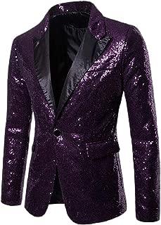 Sodossny-AU Men Slim Fit Sequin Costume One Button Coat Sparkle Clubs Blazer Jacket