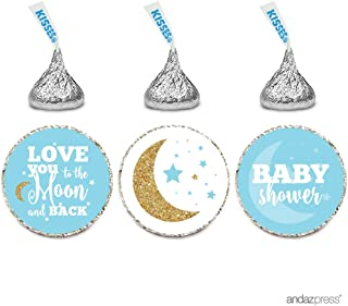 Andaz Press Chocolate Drop Labels Trio, Boy Baby Shower, Love You to the Moon and Back, Baby Blue, 216-Pack, Fits Hershey's Kisses Party Favors, Twins, Decor, Decorations