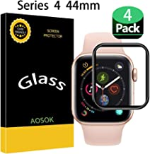 [4-Pack] Apple Watch Serie 4 44MM Screen Protector, AOSOK [Tempered Glass] [Black Series] [9H Hardness] [Anti-Scratches] Full Coverage Screen Protector Compatible Watch Serie 4 44MM (4Pack)