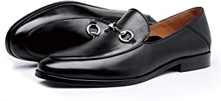 Men's Loafers Shoes Leather Made Slip-on Casual Loafer with Metal Ornament Slip-on Driving Shoes for Men