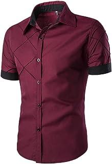 QUIQUOL Uomo Camicie Manica Corta Moda Camicetta Slim Fit Maglietta Personalizzate Superiori Casual T-Shirt Top Classico B...