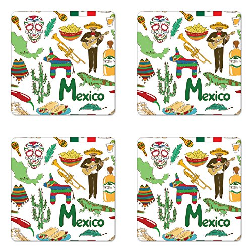 Lunarable Mexican Coaster Set of 4, Fun Colorful Sketch Mexico Chili Pyramid Nachos Cactus Music Poncho Pattern, Square Hardboard Gloss Coasters, Standard Size, Olive Mustard