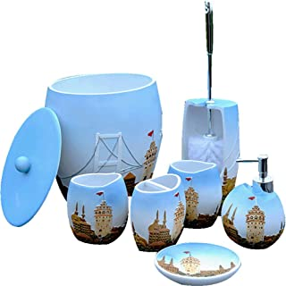 Blue Castle Bathroom Seven-Piece Resin Bathroom Bathroom Set Washing Set Toilet Brush Bucket Trash Can Toilet Brush Holder...